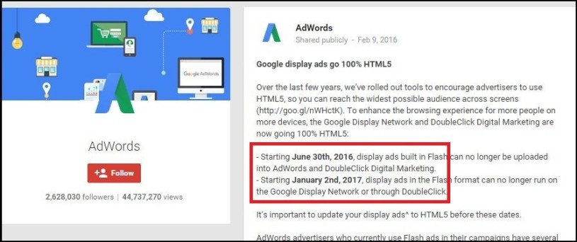 Google Adwords Says Hasta La Vista to Flash based Ads, Makes HTML5 Ads Mandatory